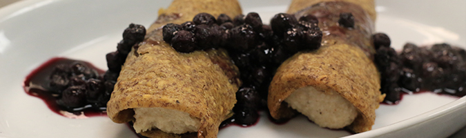 Paleo Pancake Blintzes with Blueberry Compote