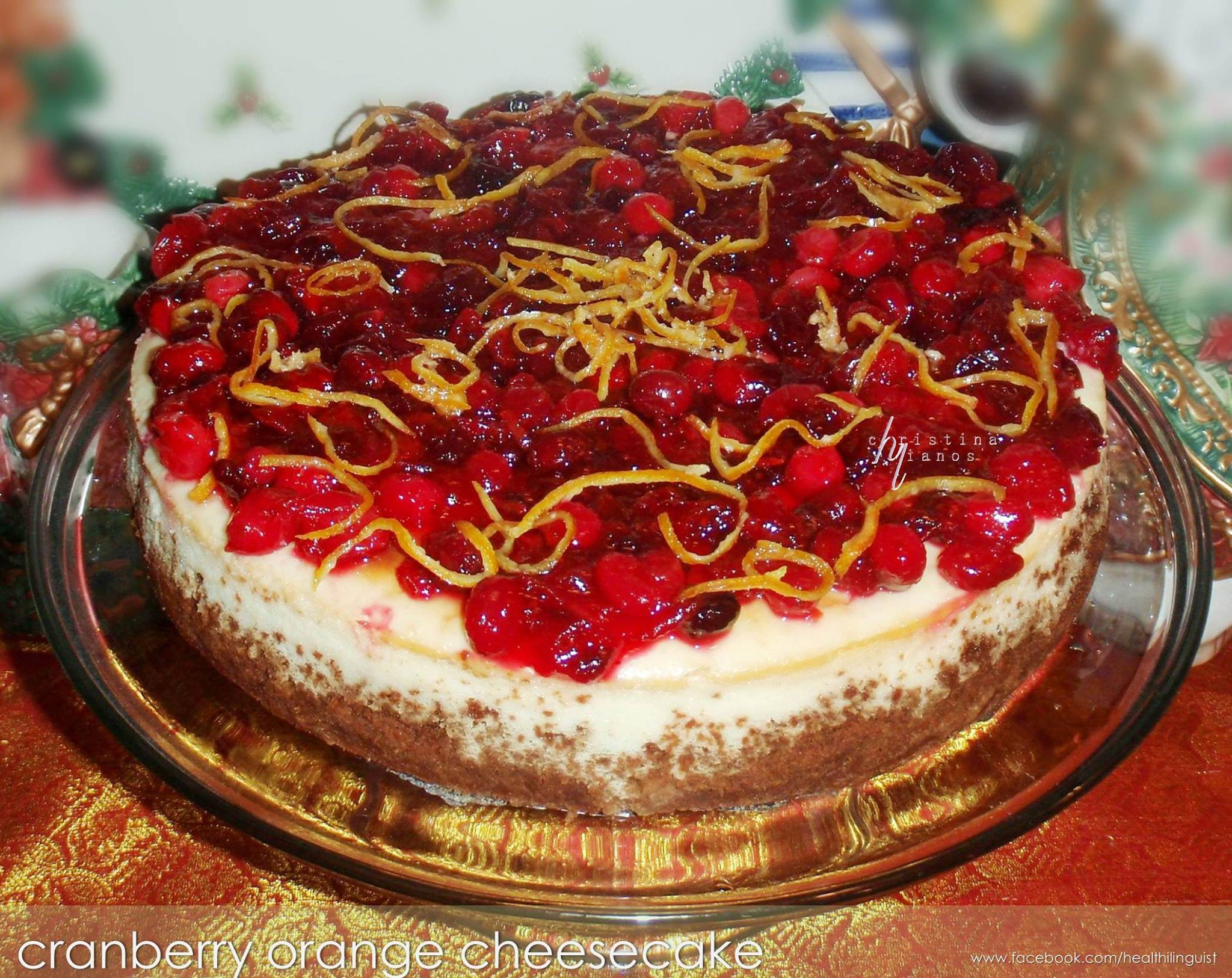 Cranberry Orange Cheesecake (Gluten Free, Grain Free)