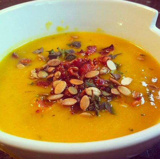 Squash Soup with Bacon Leeks and Pumpkin Seeds