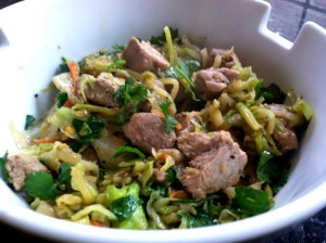 Pork, Cabbage, and Broccoli Slaw Stir Fry