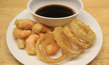 Paleo Tempura Onion Rings and Shrimp