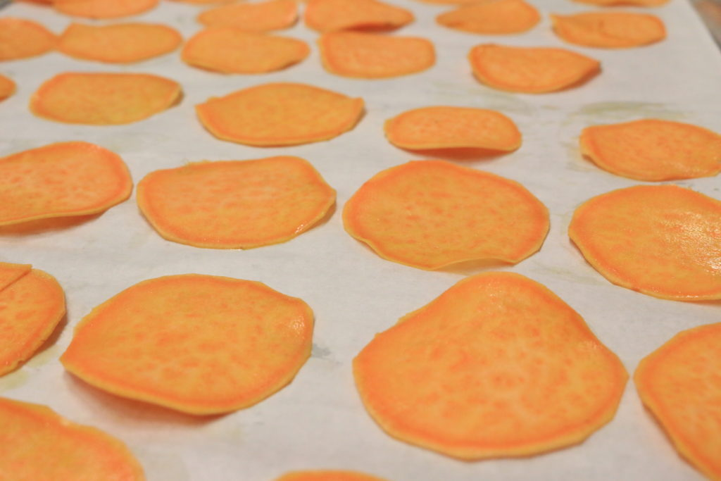 tray of sweet potato chips