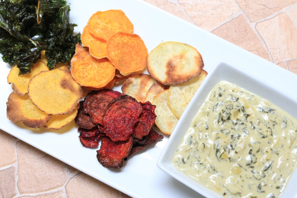 Kale chips, beet chips, sweet potato chips and butternut squash chips