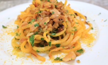 Rutabaga Fettuccini with White Clam Sauce and Bottarga