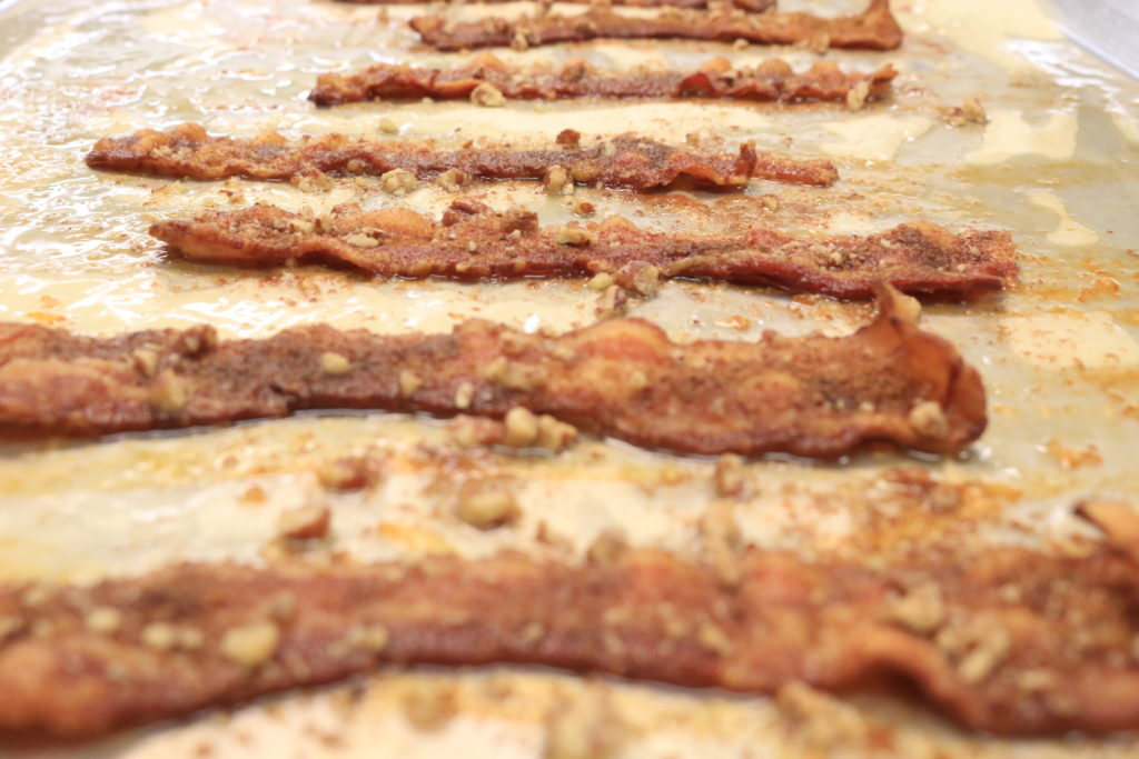 A delicious serving of paleo praline bacon made with Pederson's Sugar Free bacon.
