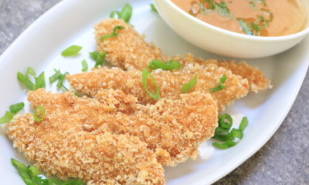 Pork Dust Crusted Chicken Fingers with Sweet & Sour Sauce