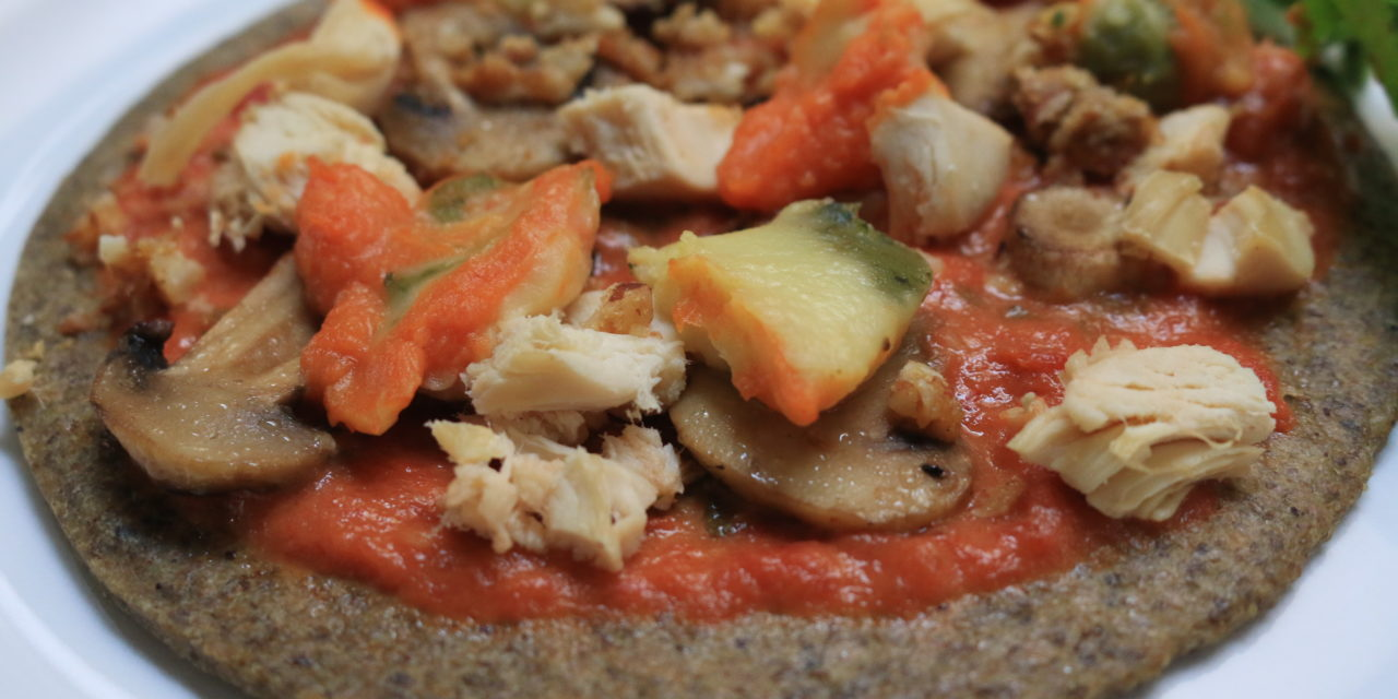 Chicken, Mushroom and Goat Cheese Pizza with Seed Flour Crust