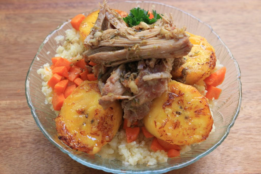 Our paleo rice bowl has all the flair and flavor of the traditional Cuban dish, without all the guilt and its a great way to use leftover pork.