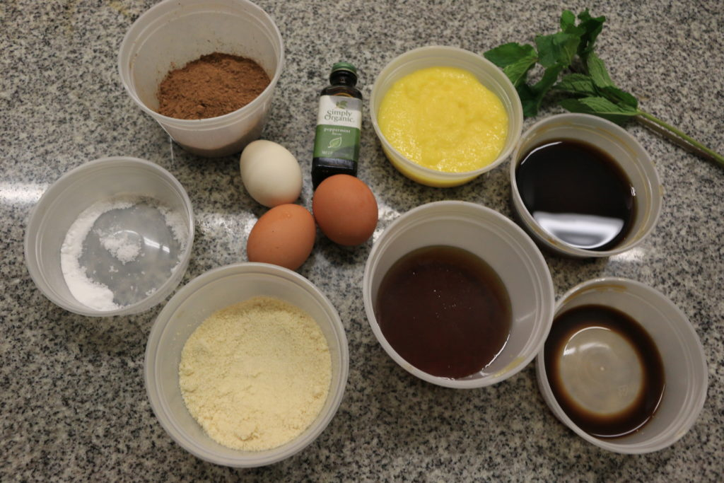 Paleo mint mocha brownie ingredients.