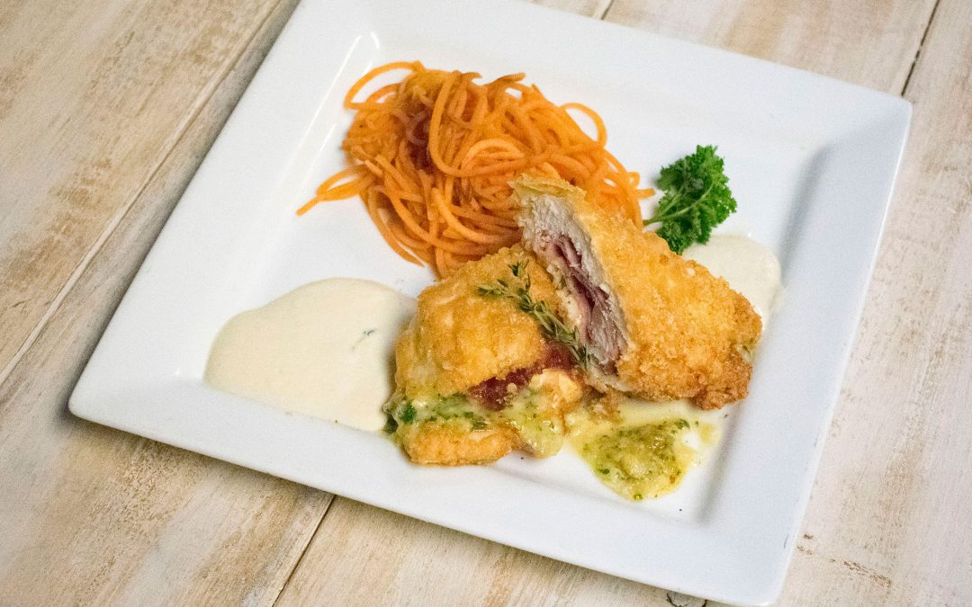 Pork Dust Crusted Chicken Cordon Bleu