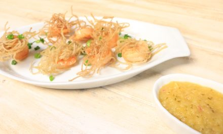 Vermicelli Wrapped Shrimp with Tropical Dipping Sauce