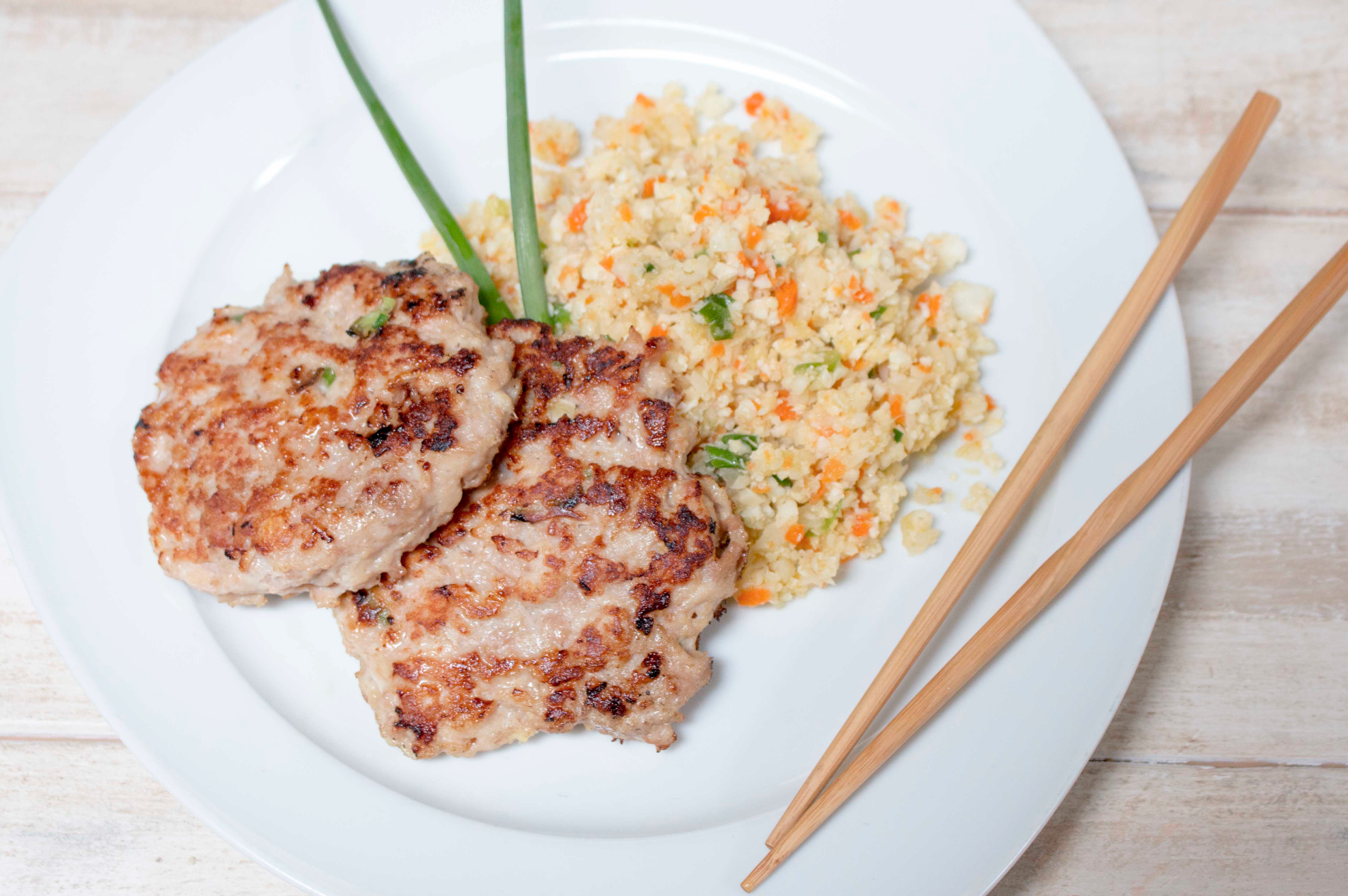 Asian Chicken Burgers with Fried Rice