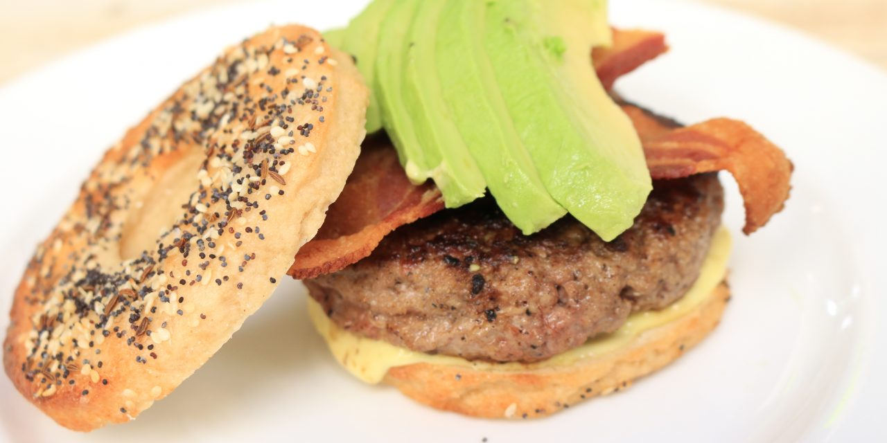 Everything Bagel Burger with Bacon and Avocado