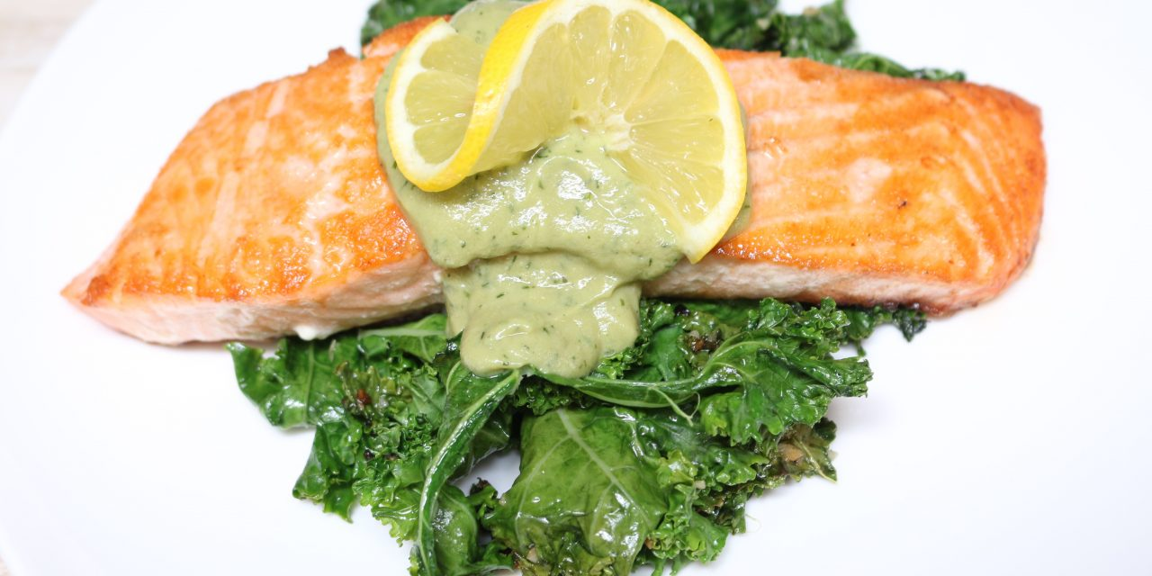 Grilled Salmon over Kale with Lemon Dill Sauce (AIP)