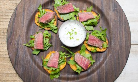 AIP Sliced Beef Tenderloin with Horseradish Cream on Sweet Potato Chip