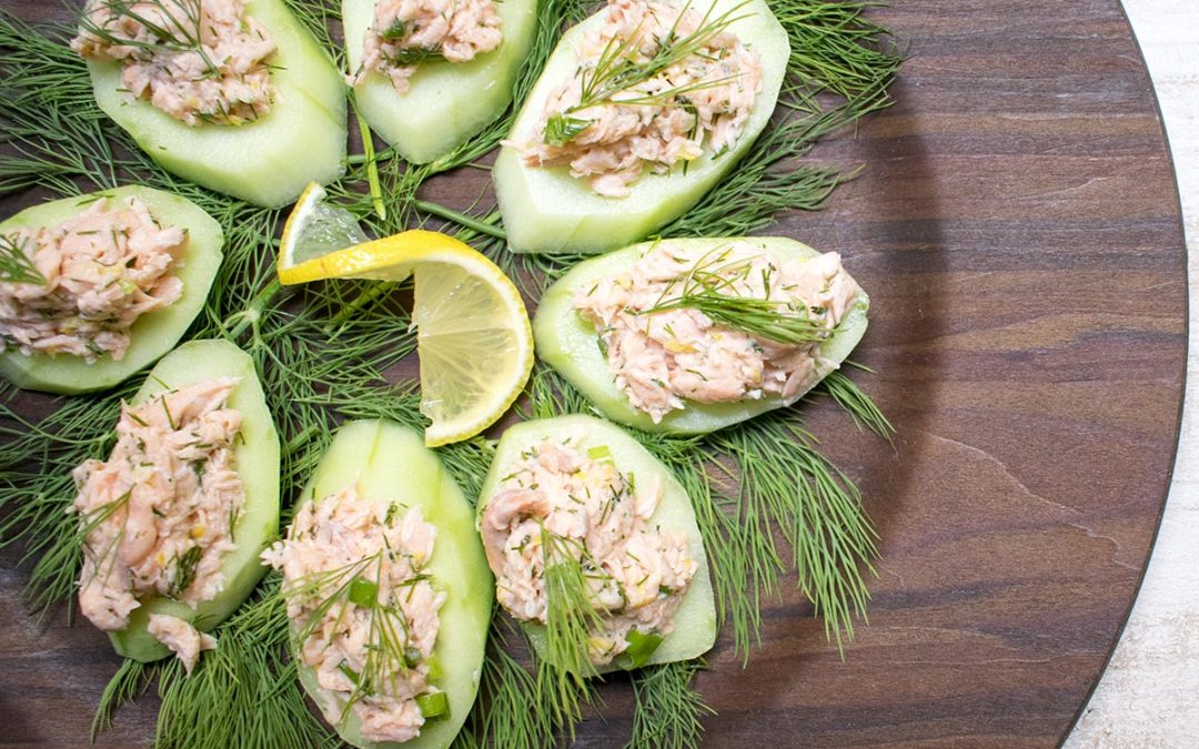 AIP Poached Salmon Lemon Dill Salad over Cucumber Rounds