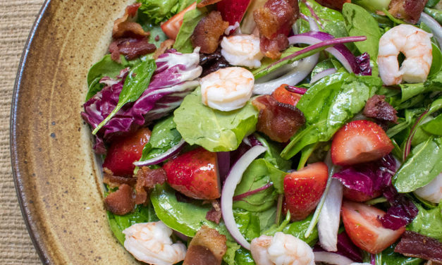 Bacon, Lettuce, Strawberry & Shrimp Salad with Honey Vinaigrette (AIP)
