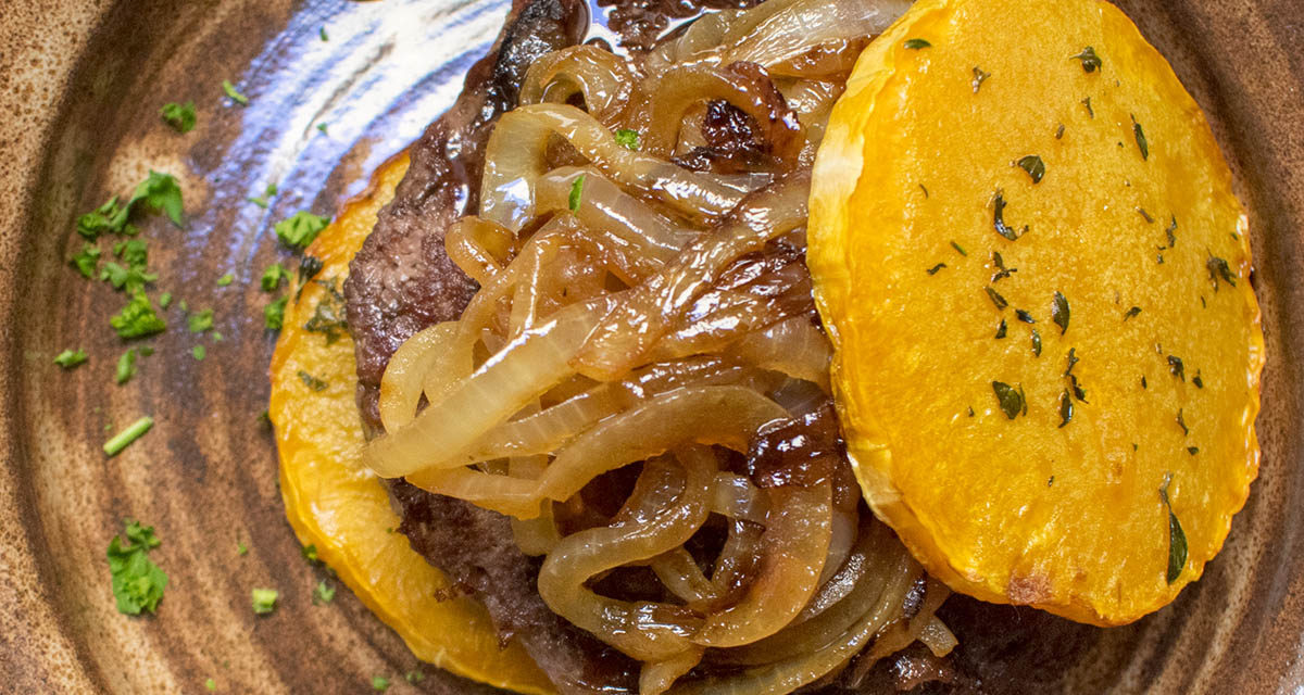 Balsamic Honey Glazed Yak Burgers with Caramelized Onions on Butternut Squash Bun (AIP)