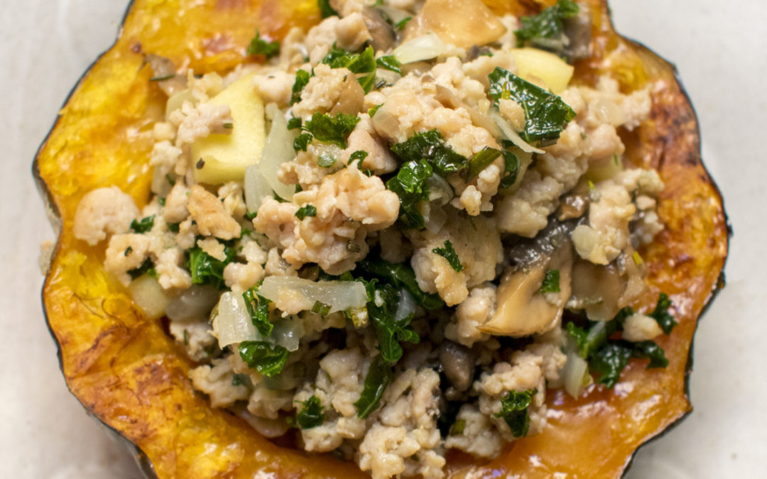 Twice Baked Acorn Squash with Chicken Sausage and Kale (AIP)