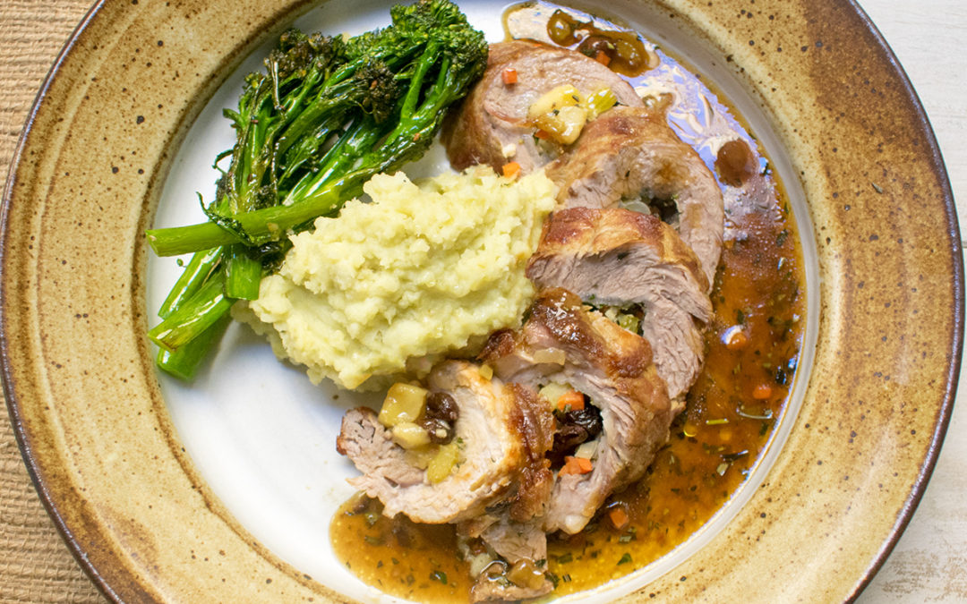 Vegetable Stuffed Pork Loin with Mashed Sweet Potato's