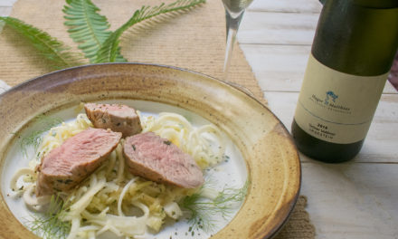 Pork Tenderloin over Apple Fennel Thyme Salad & Dry Farm Wines Gruner Veltliner