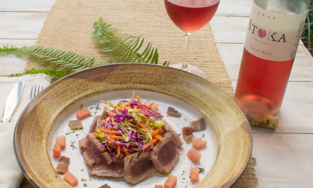 Seared Ahi Tuna over Brussels Sprouts Salad Paired with Stoka Teran Rose from Dry Farm Wines
