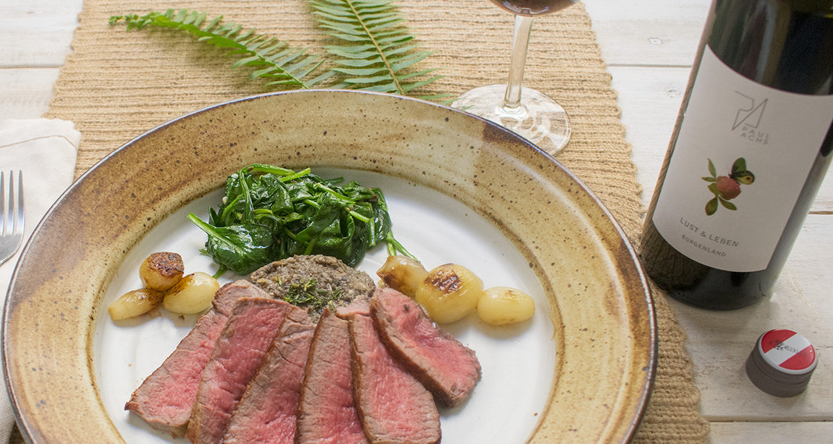 Filet of Beef with Mushroom Pate & Paul Achs Winery, Lust & Leben Burgenland, Dry Farm Wines